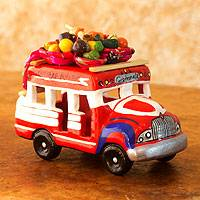Ceramic sculpture, 'Bus to Santiago Atitlan' - Brightly Colored Chicken Bus Figurine from Guatemala