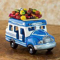 Ceramic sculpture, 'Bus to Tikal' - Hand Crafted Guatemala Chicken Bus Ceramic Sculpture