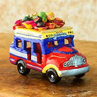 Ceramic sculpture, 'Bus to Totonicapan' - Brightly Colored Ceramic Bus Figurine from Guatemala