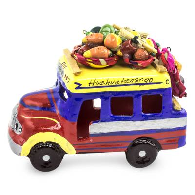 Ceramic sculpture, 'Bus to Totonicapan' - Brightly coloured Ceramic Bus Figurine from Guatemala