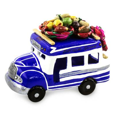 Ceramic sculpture, 'Bus to Chichicastenango' - Blue and White Ceramic Chicken Bus Figurine from Guatemala