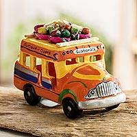 Ceramic sculpture, 'Bus to Antigua'