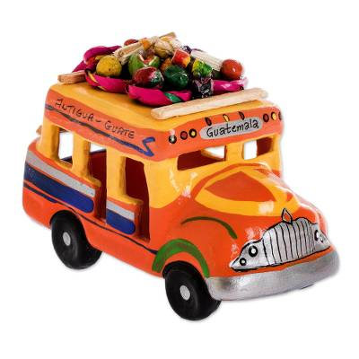 Ceramic sculpture, 'Bus to Antigua' - Hand Made Guatemala Chicken Bus Ceramic Replica Sculpture