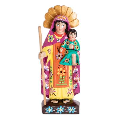 Wood sculpture, 'Mary Help of Christians' - Hand Carved Wood Statue of the Virgin Mary with Little Jesus