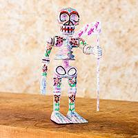 Pinewood sculpture, 'Floral Skeleton' - Guatemalan Handcrafted Pinewood Skeleton Sculpture