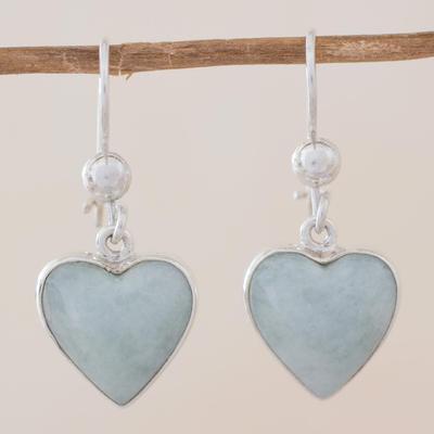 Jade heart earrings, 'Innocent Heart' - Sterling Silver Heart Earrings with Light Green Jade