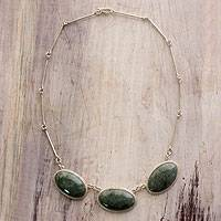 Reversible jade pendant necklace,