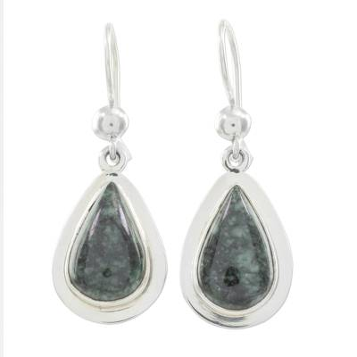 Jade dangle earrings, 'Dark Green Halo' - Polished Sterling Earrings with Dark Green Maya Jade