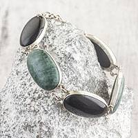 Jade link bracelet, 'Black and Green Tonalities' - Black and Forest Green Jade and Silver Bracelet
