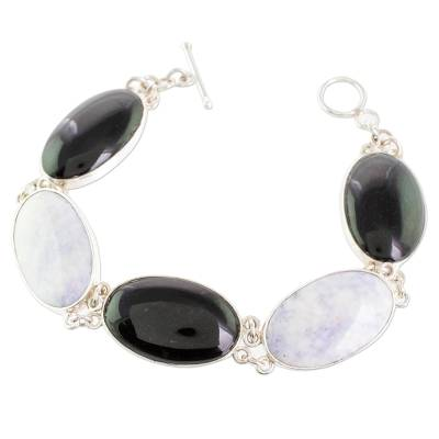 Jade link bracelet, 'Black and Lilac Tonalities' - Black and Lilac Jade and Silver Bracelet from Guatemala