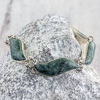 Jade link bracelet, 'Leaves in the Breeze' - Handmade Sterling Silver Bracelet with Green Maya Jade