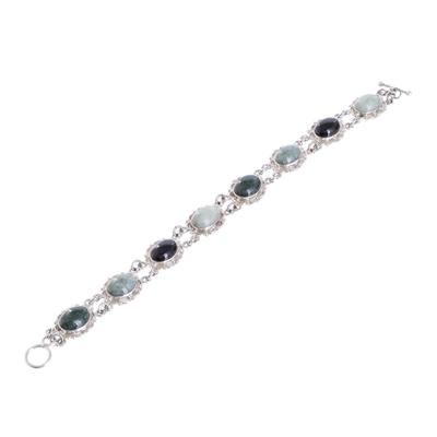 Jade link bracelet, 'Colorful Dahlias' - Guatemalan Hand Crafted Multi Color Jade and Silver Bracelet