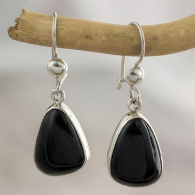 Jade dangle earrings, 'Maya Night' - Guatemalan Hand Crafted Sterling Silver Black Jade Earrings