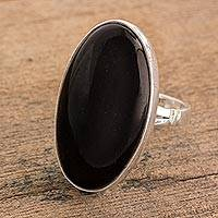 Jade cocktail ring, 'Black Tonalities' - Handcrafted Minimalist Black Jade and Silver Cocktail Ring