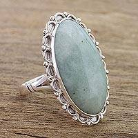 Jade cocktail ring, 'Pale Dahlia'
