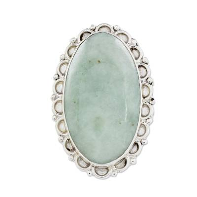 Jade cocktail ring, 'Pale Dahlia' - Guatemalan Hand Crafted Light Green Jade and Silver Ring