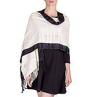Cotton shawl, 'Day and Night' - Maya White and Black Handwoven Cotton Shawl from Guatemala