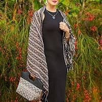 Cotton shawl, 'Midnight Paths' - Maya Backstrap Handwoven Black and Ivory Cotton Shawl