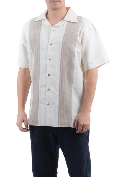 Men's cotton shirt, 'Maya Paths' - Handwoven Natural Cotton Men's Shirt from Guatemala
