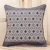 Cotton cushion cover, 'Silver Moon' - Maya Loom Woven Cotton Cushion Cover in Grey and Lilac