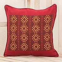 Cotton cushion cover, 'Stars of Solola' - Maya Handwoven Burgundy Cotton Cushion Cover from Guatemala