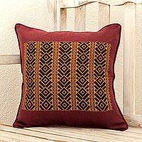 Cotton cushion cover, 'Solola Roads' - Maya Backstrap Woven Cotton Cushion Cover in Wine and Yellow