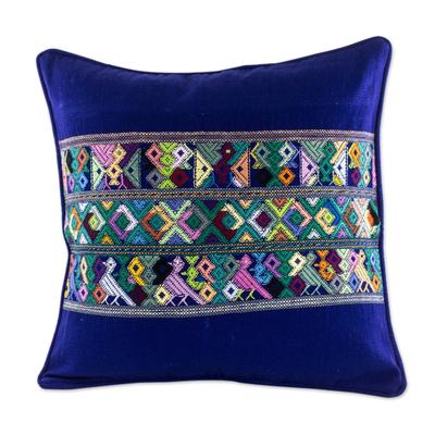 Blue Bird Theme Maya Backstrap Woven Cotton Cushion Cover