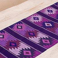 Cotton table runner, 'Purple Sky' - Maya Handwoven Purple Cotton Table Runner from Guatemala