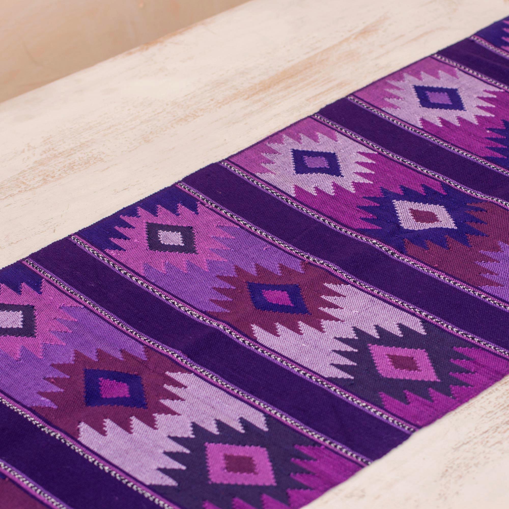 Maya Handwoven Purple Cotton Table Runner From Guatemala, U0027Purple Skyu0027