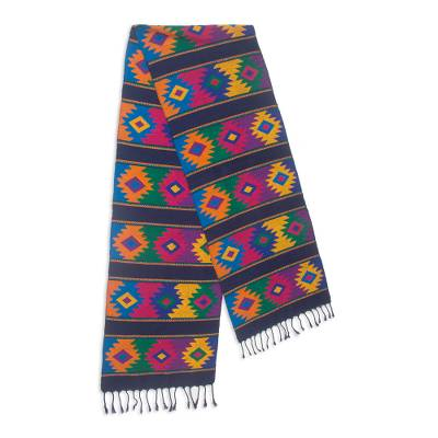 Cotton table runner, 'Dazzling Stars' - Maya Handwoven Cotton Table Runner in Bright Colors