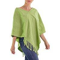 Handwoven poncho, 'Green Apple' - Backstrap Loom Guatemalan Apple Green Rayon Poncho