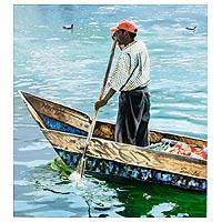 'Boatman' (2013) - Guatemalan Fisherman Portrait Painting in Oil on Canvas