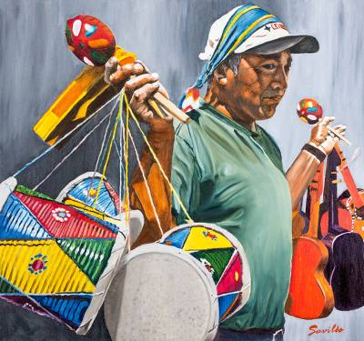 'Toy Vendor' (2013) - Original Oil on Canvas Portrait of a Guatemala Toy Seller