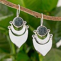 Dark green jade dangle earrings, 'Two Large Moons' - Dark Green Jade on Sterling Silver Artisan Crafted Earrings