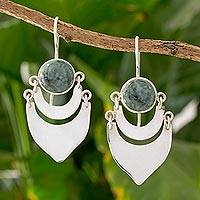 Jade dangle earrings, 'Two Large Moons' - Light Green Jade on Sterling Silver Artisan Crafted Earrings