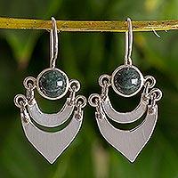 Jade dangle earrings, 'Two Moons' - Fair Trade Sterling Silver and Jade Hand Made Earrings