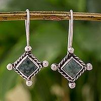Jade dangle earrings, 'Cardinal Points' - Rhombus Shaped Sterling Silver Earrings with Green Jade