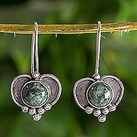 Dark green jade heart earrings, 'Love' - Sterling Silver Heart Earrings with Dark Green Jade