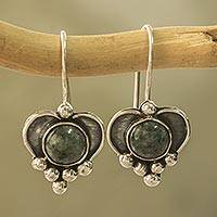 Jade heart earrings, 'Deep Love' - Sterling Silver Heart Earrings with Light Green Jade
