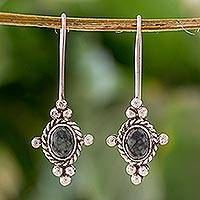 Jade dangle earrings, 'Beauty' - Fair Trade Jade and Sterling Silver Hand Made Earrings