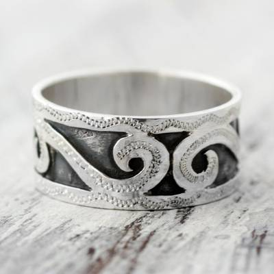 Sterling silver band ring, 'Rolling Waves' - Artisan Crafted Sterling Silver Band Ring Crafted by Hand