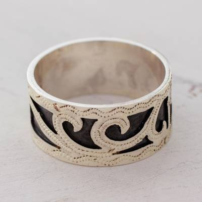 Novica Sterling silver band ring, Blissful Happiness