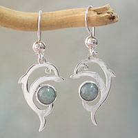 Jade dangle earrings, 'Pale Green Dolphin' - Handmade Silver Dolphin Earrings with Light Green Maya Jade