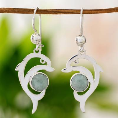 Jade dangle earrings, 'Apple Green Dolphin' - Handmade Silver Dolphin Earrings with Apple Green Maya Jade