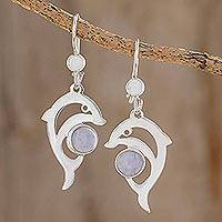 Jade dangle earrings, 'Lilac Dolphin' - Handmade Silver Dolphin Earrings with Lilac Maya Jade