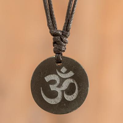 Jade pendant necklace, 'Meditation II' - Jade Om Symbol on Leather Cord Necklace