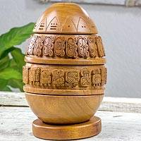 Cedar wood and jade sculpture, 'Maya Calendar Seed' - Maya Calendar Egg-shaped Cedar Wood and Jade Sculpture
