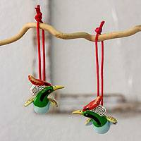 Ceramic ornaments, 'Hummingbird Coquette' (pair) - Handcrafted Colorful Ceramic Hummingbird Ornaments (Pair)