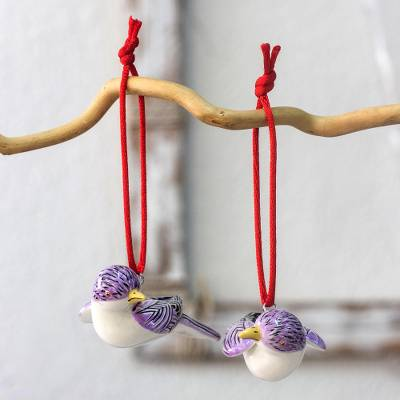 Ceramic ornaments, 'Curious Amethyst Starlings' (pair) - Artisan Crafted Ceramic Starling Bird Ornaments (Pair)