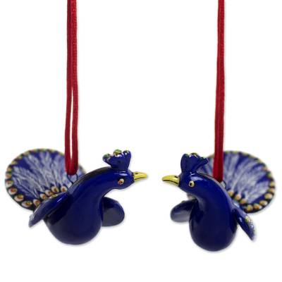 Ceramic ornaments, 'Festive Blue Peacocks' (pair) - Hand Crafted Ceramic Peacock Ornaments from Guatemala (Pair)